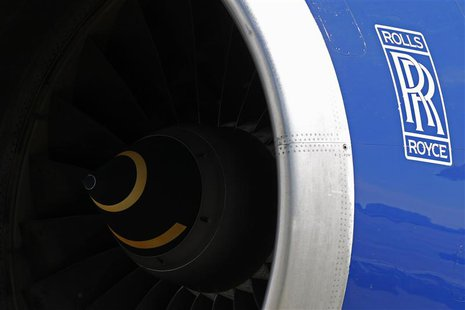 A Rolls-Royce aircraft engine of a British Airways (BA) Boeing 747 passenger aircraft is seen at Heathrow Airport in west London April 7, 20