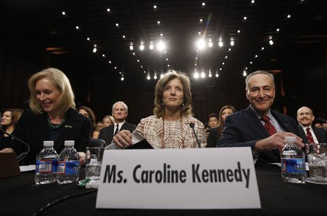Caroline Kennedy (C), daughter of former U.S. President John F. Kennedy, arrives to testify at a U.S. Senate Foreign Relations Committee hea