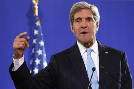 U.S. Secretary of State John Kerry speaks at a news conference after a meeting with his British and French counterparts regarding Syria, at