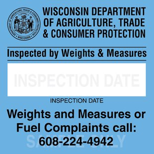 New DATCP Weights and Measures Inspection Sticker