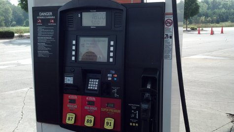 Gas Pump in Suamico (Photo by: WTAQ Reporter Jeff Flynt).