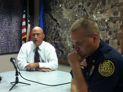 Stevens Point Police Chief Kevin Ruder (L) and Assistant Chief Tom Zenner (R)