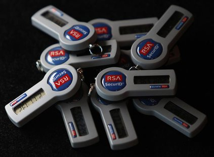 RSA SecureID electronic keys are pictured in a photo illustration taken in Singapore June 8, 2011. REUTERS/Michael Caronna