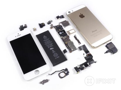 Handout image released by iFixit.com shows a disassembled Apple iPhone 5S handset during a product teardown in Melbourne, Australia Septembe