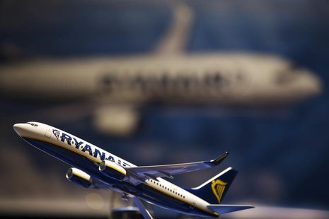A model airplane rests on a table during an announcement of the commitment for Ryanair to purchase aircraft from Boeing, in New York March 1