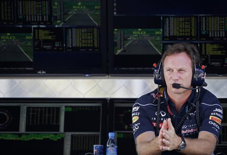 Red Bull Team Principal Christian Horner looks on during the second practice session of the Italian F1 Grand Prix at the Monza circuit Septe