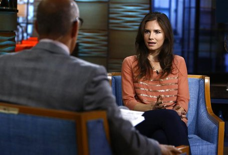 "Amanda Knox, appearing on NBC News' ""Today"" show, speaks with host Matt Lauer (L) in New York, in this image released by NBC on September 20"