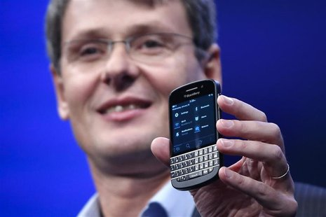 Research in Motion (RIM) President and Chief Executive Officer Thorsten Heins introduces a new RIM Blackberry 10 device during the launch in