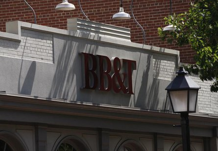 A BB&T bank is pictured in Alexandria, Virginia July 22, 2010. BB&T Corp. shares were lower after the bank came in with higher profit but fe