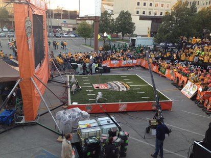 North Dakota State Bison fans wait for ESPN College Gameday to begin on Saturday September 21st, 2013 in Downtown Fargo.