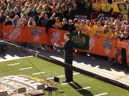 ESPN analyst Chris Fowler live on ESPN's College GameDay live from Downtown Fargo on Saturday September 21st, 2013.