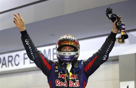 Red Bull Formula One driver Sebastian Vettel of Germany celebrates winning the Singapore F1 Grand Prix at the Marina Bay street circuit in S
