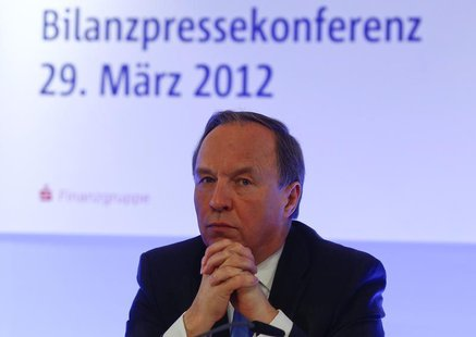 Gerd Haeusler, CEO of BayernLB, pauses during the company's annual news conference in Munich March 29, 2012. REUTERS/Michael Dalder