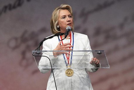 Former U.S. Secretary of State Hillary Clinton speaks at the Liberty Medal ceremony after receiving the award, at the National Constitution