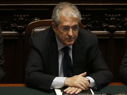 New Italian Economy Minister Fabrizio Saccomanni attends at the Lower house of the parliament in Rome, April 29, 2013. REUTERS/ Alessandro B