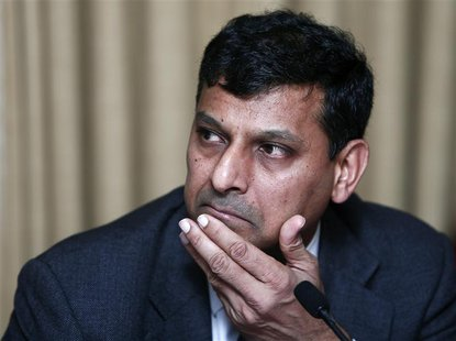 Reserve Bank of India (RBI) Governor Raghuram Rajan listens to a question during a news conference after the mid-quarter monetary policy rev