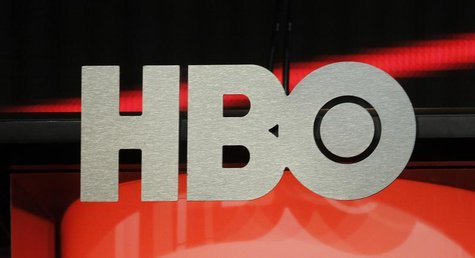 The logo for HBO, Home Box Office, the American premium cable television network, owned by Time Warner, is pictured during the HBO presentat
