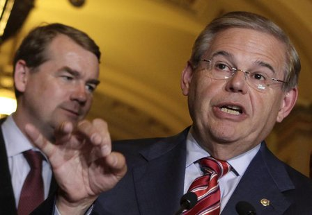Senate Foreign Relations Committee Chairman Robert Menendez (D-NJ) speaks to the media on Capitol Hill in Washington June 27, 2013. REUTERS/