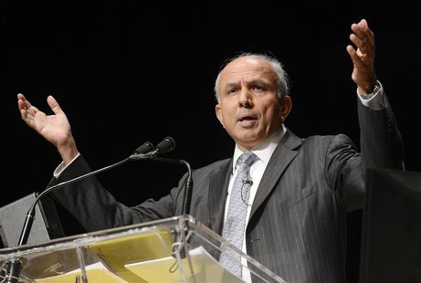 Fairfax Financial Holdings Ltd. Chairman and Chief Executive Officer Prem Watsa speaks during the company's annual meeting in Toronto in thi