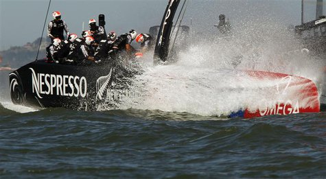 Emirates Team New Zealand sails against Oracle Team USA during Race 16 of the 34th America's Cup yacht sailing race in San Francisco, Califo