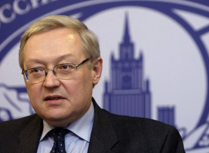 Russia's Deputy Foreign Minister Sergei Ryabkov speaks during a news briefing in the main building of Foreign Ministry in Moscow, in this fi