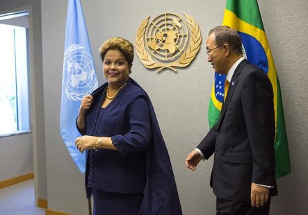 United Nations Secretary-General Ban Ki-moon arrives with Brazil's President Dilma Rousseff during the U.N. General Assembly at the U.N. Hea