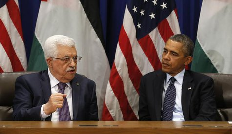 U.S. President Barack Obama (R) meets with Palestinian President Mahmoud Abbas during the United Nations General Assembly in New York Septem