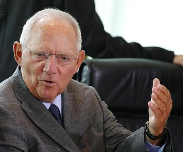 German Finance Minister Wolfgang Schaeuble gestures during a cabinet meeting at the Chancellery in Berlin August 28, 2013. REUTERS/Fabrizio