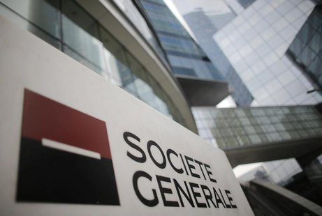 A logo is seen is seen in front of French bank Societe Generale headquarters in La Defense near Paris, February 13, 2013. REUTERS/Christian