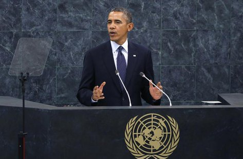U.S. President Barack Obama addresses the 68th United Nations General Assembly at UN headquarters in New York, September 24, 2013. REUTERS/M