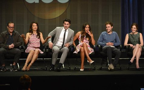 From L-R: Cast members Clark Gregg, Ming-Na Wen, Brett Dalton, Chloe Bennet, Iain De Caestecker and Elizabeth Henstridge participate in a pa