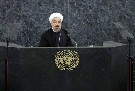 Iran's President Hassan Rouhani addresses the 68th United Nations General Assembly at UN headquarters in New York, September 24, 2013. REUTE