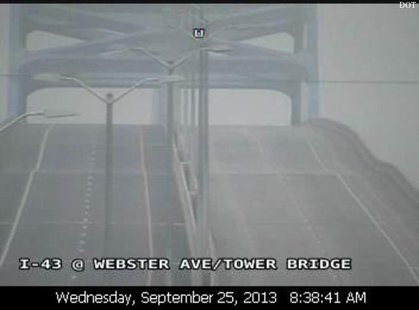 A shot of a dip on the east side of the Leo Frigo Bridge in Green Bay from a Wisconsin Department of Transportation traffic camera, Sept. 25, 2013. (Photo by: Wisconsin DOT).