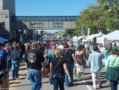 People crowd College Avenue in downtown Appleton for Octoberfest, Sept. 29, 2012. (Photo by: FOX 11).