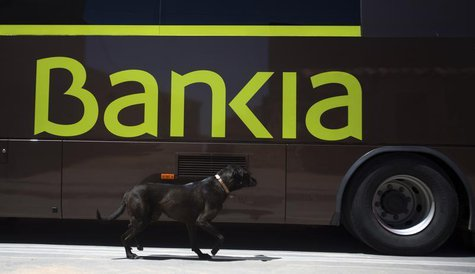 A dog walks past a bank bus during its monthly call on customers in the village of Corral de Ayllon, central Spain, June 4, 2013. REUTERS/Se