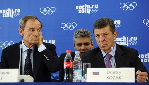 Jean-Claude Killy (L), head of the IOC Coordination Commission to monitor progress for the Sochi 2014 Winter Olympics, and Russia's Deputy P