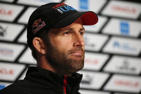 Oracle Team USA tactician Ben Ainslie speaks to members of the media after winning Race 18 of the 34th America's Cup yacht sailing race agai
