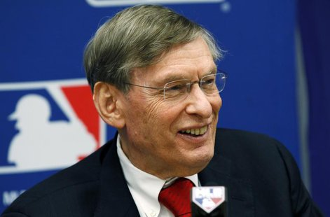 Major League Baseball Commissioner Bud Selig speaks at a news conference in New York, November 22, 2011, to announce a new five-year collect