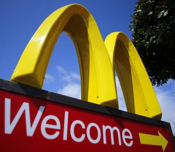 A McDonald's restaurant sign is seen at a McDonald's restaurant in Del Mar, California April 16, 2013. REUTERS/Mike Blake