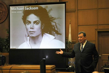 Brian Panish, attorney for the Michael Jackson family delivers his closing argument to jurors in a packed courtroom in Los Angeles, Septembe