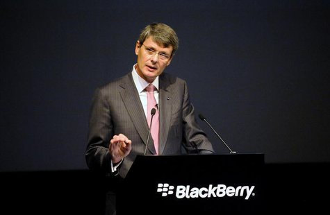 BlackBerry Chief Executive Thorsten Heins speaks at the company's annual meeting in Waterloo, Ontario July 9, 2013. REUTERS/Jon Blacker