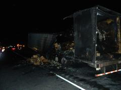 semi trailer fire on I-70 photo courtesy Indiana State Police