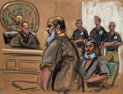 Terror suspects Khalid al-Fawwaz (2nd L) and Adel Abdul Bary (3rd L) are seen in this courtroom sketch during a court appearance in Manhatta