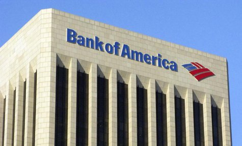 The logo of the Bank of America is pictured atop the Bank of America building in downtown Los Angeles November 17, 2011. REUTERS/Fred Prouse
