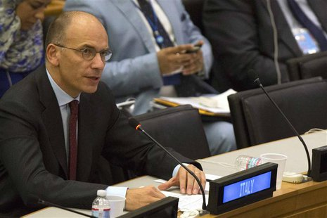 Italy's Prime Minister Enrico Letta speaks during a news conference following his address to the high-level meeting on Islamist groups in th