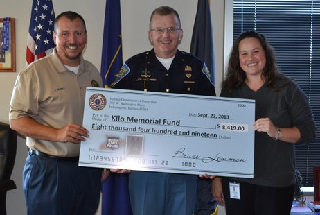 Pictured in the photo from left to right are IDOC Deputy Commissioner James Basinger, ISP Superintendent Doug Carter and IDOC Deputy Commissioner Amanda Copeland.