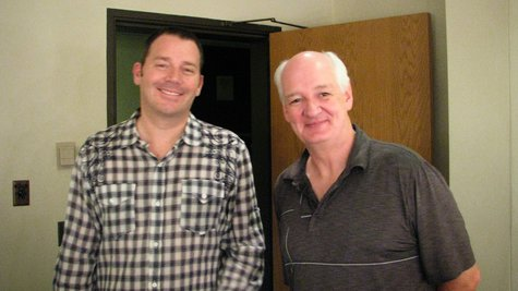 Actors Brad Sherwood and Colin Mochrie backstage at the Theatre @1800 in Stevens Point, September 26 2013