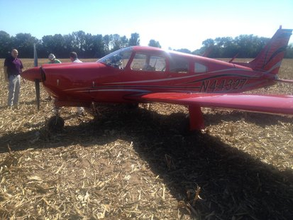 1974 Piper Arrow sets down in southern Vigo County field