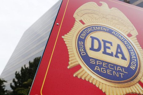 A sign with a DEA badge marks the entrance to the U.S. Drug Enforcement Administration (DEA) Museum in Arlington, Virginia, August 8, 2013.