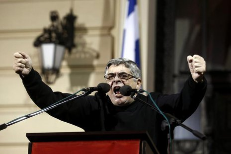 Leader of the extreme-right Golden Dawn party Nikolaos Mihaloliakos delivers a speech during a gathering in Athens February 2, 2013. REUTERS